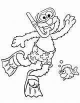 Elmo Snorkeling Coloringhome Berbagai sketch template