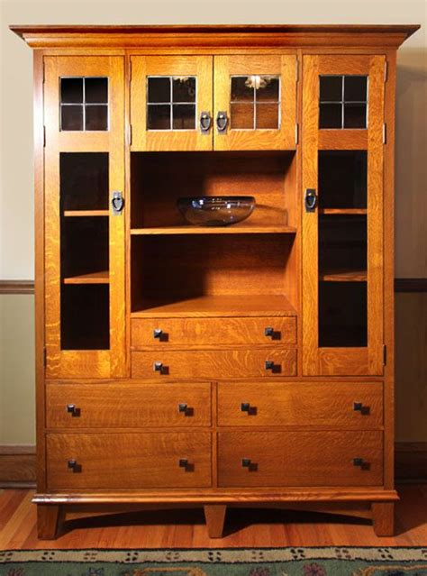 Quarter Cabinet by Craftsman Quarter Sawn Oak Cabinet With Leaded Glass