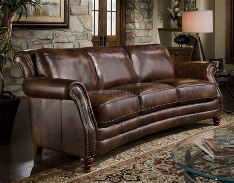 cognac top grain leather traditional sofa woptional items