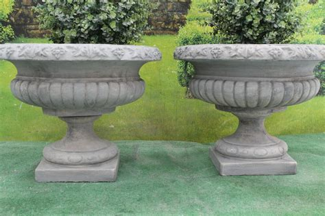 Two Victorian Style Garden Urns Stone Ornament Planter