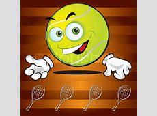Lustige lächelnde Tennisball auf dem broun Hintergrund