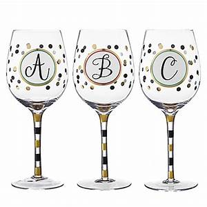 Monogram letter wine glass bed bath beyond for Letter wine