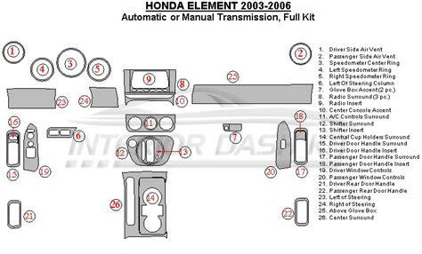 car manuals free online 2006 honda element instrument cluster honda element 2003 2006 dash trim kit full kit manual or automatic transmission interior