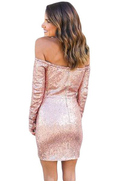 New Arrival Glittering Pink Long Sleeve Off Shoulder Club