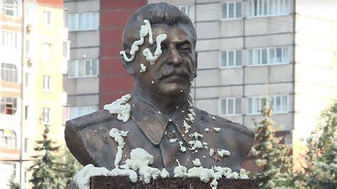 assailants attack stalin sculpture  communist party