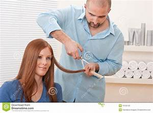 Hairdresser Cut With Scissors At Salon Stock Photo - Image ...