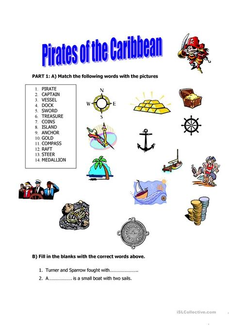 pirates   caribbean worksheet  esl printable