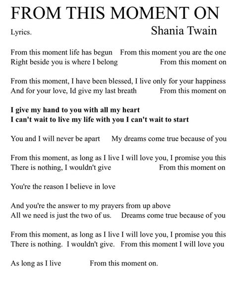 from this moment on lyrics shania tinkerbell