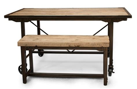 rustic wood kitchen table hand made custom farmhouse reclaimed wood steel dining