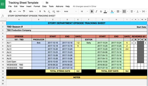 story  editor tracking spreadsheet  multiple