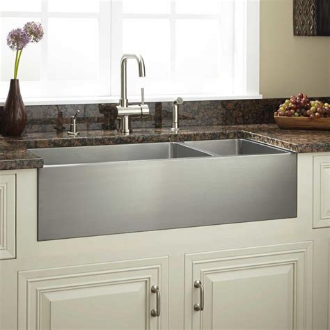 Black Stainless Steel Farmhouse Sink by 36 Quot Optimum 70 30 Offset Bowl Stainless Steel