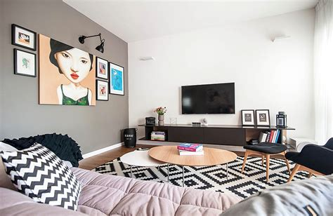 Black Grey And Turquoise Living Room 90s apartment in tel aviv gets a trendy eclectic makeover