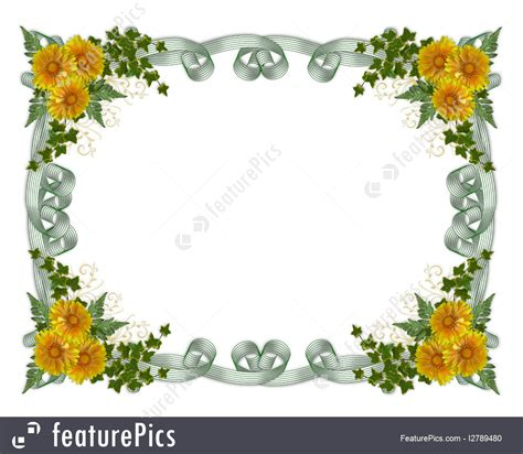 templates floral border yellow flowers stock