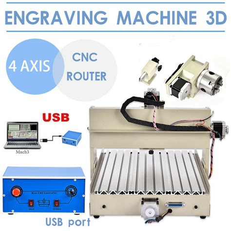 4axis 3040 cnc router engraver engraving drilling milling machine usb 3d cutter ebay