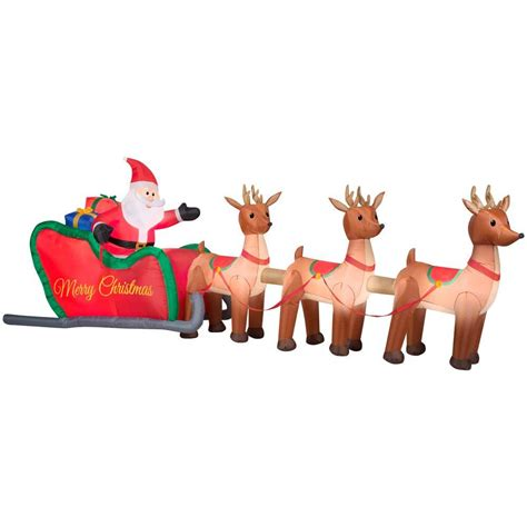 santa reindeer inflatable home accents 16 ft w santa in sleigh with reindeers 36675 the home depot