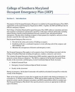 27 emergency plan examples for Occupant emergency plan template