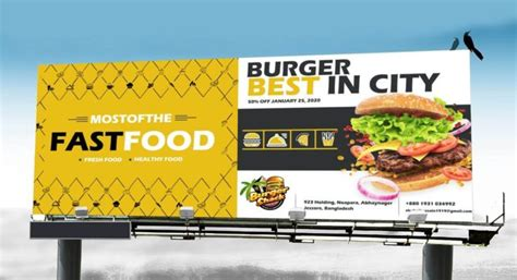 All free mockups include smart objects for easy edit. Free Fast food billboard mockup PSD template - Mockup Hut