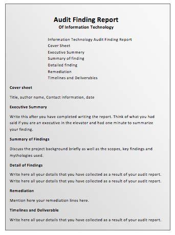 audit report template audit report template printable templates