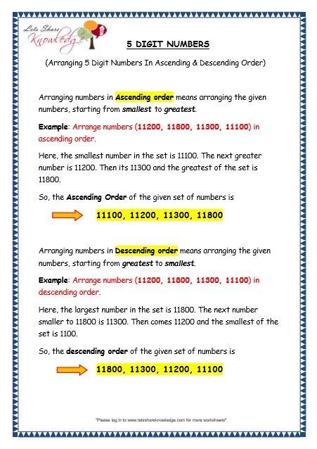 Free Math Worksheets For 6th Grade All Worksheets Ascending And Descending Worksheets Printable Worksheets Guide For Children