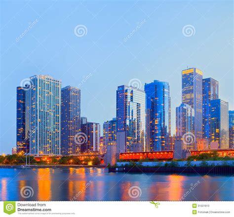 City Of Chicago USA, Sunset Colorful Panorama Skyline ...