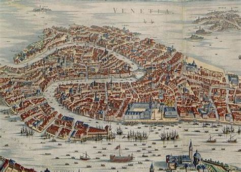 vintage pictorial map  venice italy  greeting card