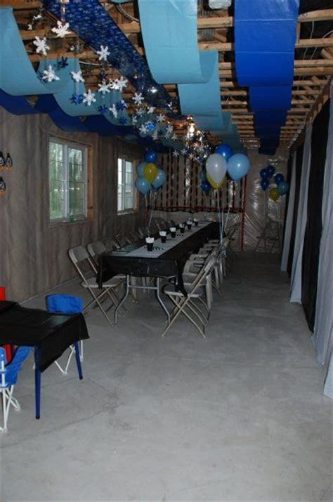 decorations strips  blue plastic table cloth