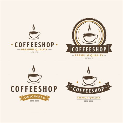 Delicate coffee logo design samples. A cup of coffee logo pack Vector | Premium Download