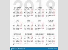 Simple Calendar For 2019 Year Week Starts Monday Stock