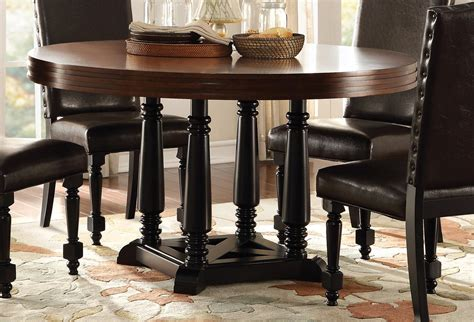 Homelegance Blossomwood Round Dining Table CherryBlack