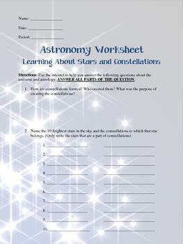astronomy worksheets learning  stars