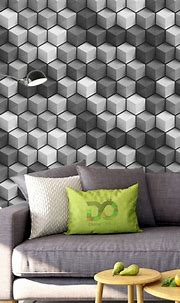 3D Cubes Wallpaper Gray FD-015-01