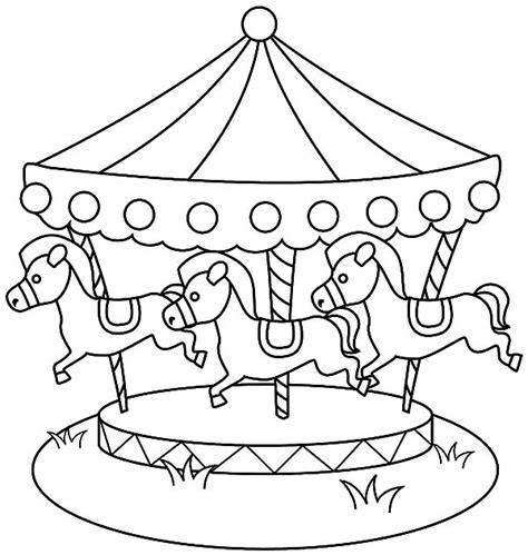 carousel horse  pool coloring pages  place  color