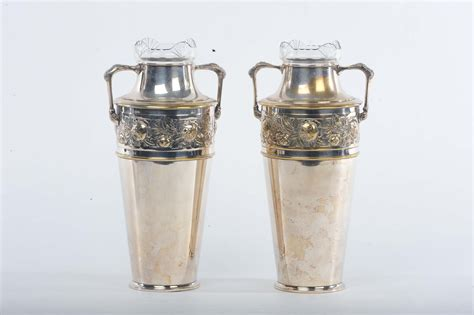 vasi liberty coppia di vasi liberty in ottone cromato e vetro originale
