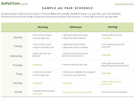 au pair daily schedule template sle au pair host family schedule from aupaircare