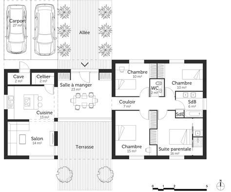 plan de maison plain pied 5 chambres plan maison 120 m avec suite parentale ooreka