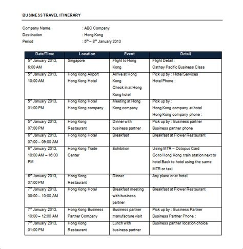 business travel itinerary template 16 travel schedule templates free word excel pdf format free premium templates