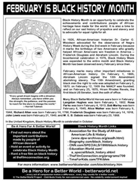 February  Black History Month Handouts