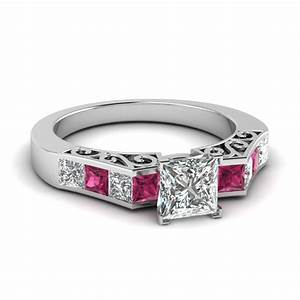 Channel diamond princess cut vintage engagement ring with for Princess cut pink diamond wedding rings
