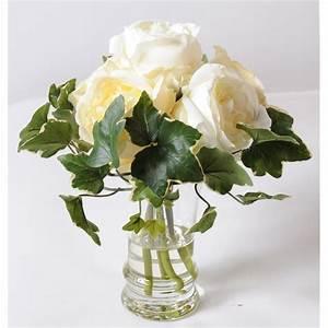 Rose Blanche Artificielle : bouquet de roses blanches dans un vase en verre 31 cm de hauteur ~ Teatrodelosmanantiales.com Idées de Décoration