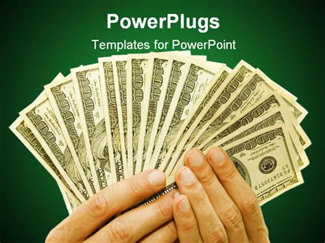 Money Powerpoint Template by Money Concept Dollars In Blue Background