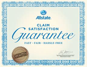 claim satisfaction guarantee allstate car insurance
