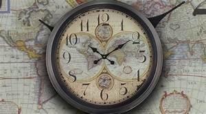 Grande Horloge Murale Mappemonde Ancienne