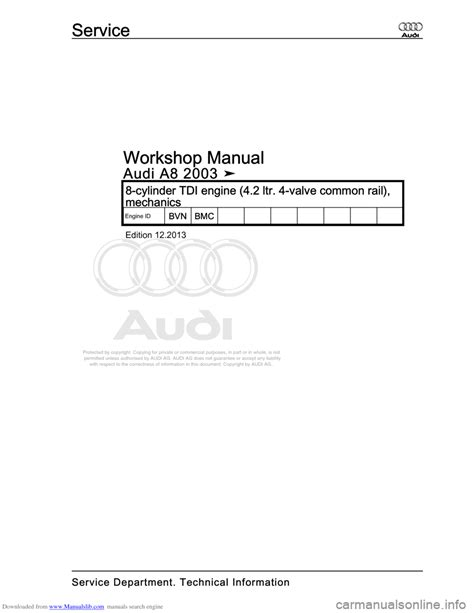 small engine repair manuals free download 2003 audi a4 electronic toll collection audi a8 2003 d3 2 g bvn bmc engines workshop manual