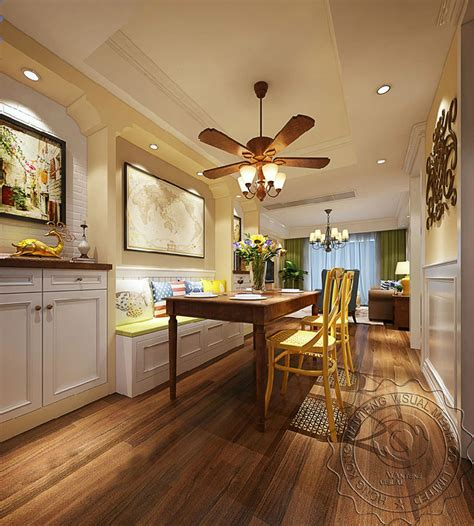 american style sitting room interior rendering design