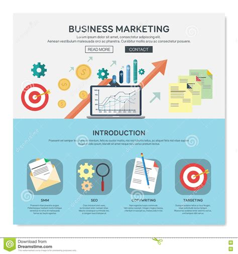 Business Marketing by One Page Web Design Template Stock Vector Illustration