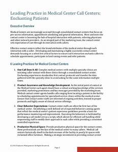 Leading Practice in Medical Center Call Centers