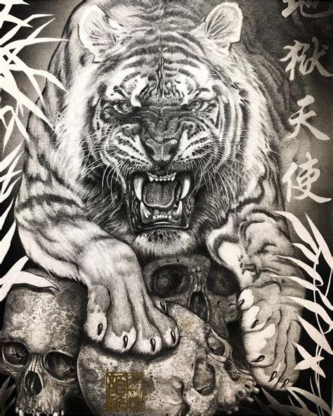 pin  rafael ortiz  skulls tatouage tatouage tigre