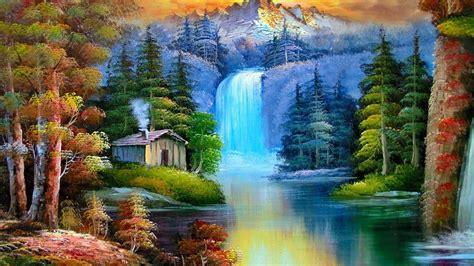 a waterfall artistic work paintings 2560x1600 qhd