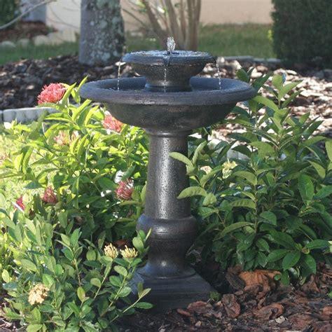 solar powered bird bath water fountain and outside garden