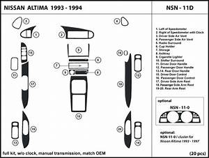 Dash Trim Kit For Altima 1993 1994 W  O Clock  With Manual